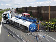 Un camión peligrosos volcó el lunes por la tarde en el A. 4 - UN 2581 CLORURO DE ALUMINIO EN SOLUCIÓN 8 III (E)