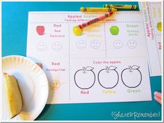 Apple Tasting activity for preschoolers. Includes a printable page to go along with the nutrition lesson. Perfect for a preschool fall apple theme! Preschool Apple Theme, Apple Activities, Fall Preschool, Preschool Themes, Preschool Science, Preschool Printables, Preschool Apples, Senses Preschool, Kindergarten Themes
