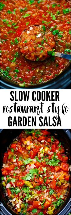 Slow Cooker Restaurant Style Garden Salsa has so many delicious and fresh ingredients and uses up all of those garden tomatoes. It is so addicting you won't be able to get enough! It is also perfect for canning.