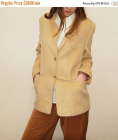 Vintage yellow wool jacket - vintage wool jacket - vinatge blazer - sand color jacket - winter jacket