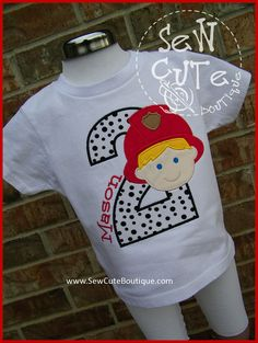 Fireman Personalized Birthday Shirt by ThatsSewCute on Etsy, $25.00