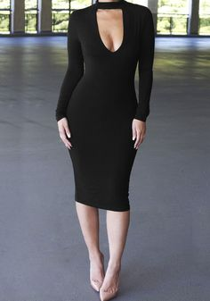 We're obsessed with LBDs so here's a black cutout bodycon midi dress to add to our collection and to yours.