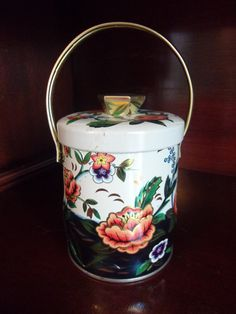 Antique Murray Allen Water Flower Tea Biscuit Storage Canister Tin with Handle Flowers  England 1960's