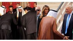 Trump shakes hands with Saudi leader, doesn't bow as Obama appeared to do                President Trump upon arriving in Saudi Arabia on Saturday did not bow to the Gulf leader as former President Barack Obama appeared to