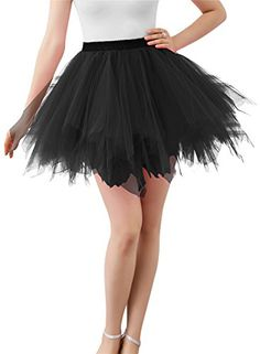 "Wedtrend Women's 50s Vintage Petticoat Party Accessory Tutu (25 Colors) WTC10002Black. Size S-M:(approx.US Size 2-14W) Waist: Could cover approx.(60cm-90cm). Size L-XL(approx.US Size 14W-26W) ;Waist: Could cover approx.(85cm-125cm). Knee Length(waist to hem)is approx.45cm/18"". Perfect for dance, ballet, costumes, dress up, jazz and tap, and party favors. Also can be worn under ROCK n ROLL,vintage dress and other outfits or can be worn alone as a skirt. Please note: this item is flat…"