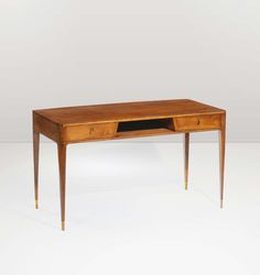 Gio Ponti; Cherry and Brass Desk, c1950.