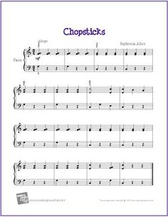 Chopsticks | Sheet Music for Easy Piano Solo - http://makingmusicfun.net/htm/f_printit_free_printable_sheet_music/chopsticks-piano-easy.htm