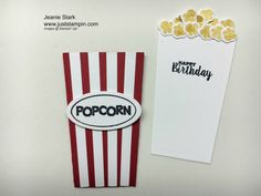 Make a card pouch/gift card holder using the Stampin' Up! Popcorn Box Thinlits and Ready to Pop Stamp Set.  www.juststampin.com