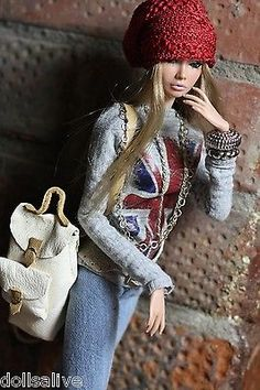"""dollsalive fashion royalty,FR2 """"The Not-Just-Cute"""" outfit, leather boots ,bag"""