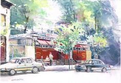 Original Watercolor Street Scene by GnatekBrothersStudio on Etsy, $300.00