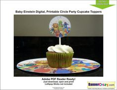 Baby Einstein Birthday Party Cupcake Toppers Labels Tags Digital INSTANT DOWNLOAD PDF DIY by bannercrazy.com