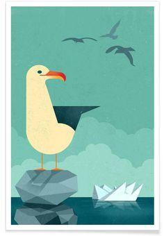 Seagull by Dieter Braun #animal #illustration #bird #seagull #water #geometric…