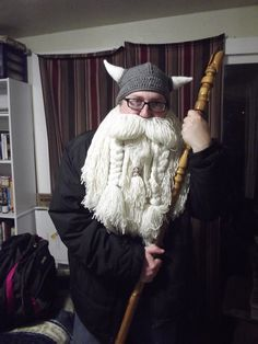 Here it is...   My Viking Helmet and beard... or Sage Dwarf look. I'm either ready for Halloween, D&D or the second Hobbit movie coming soon.   The helmet was crocheted by my wonderful daughter +Morwenna Rakestraw  and the beard was done by me, I even braided the metal wire. My beautiful wife, +Toni Rakestraw  crocheted the base for the beard.   #halloweencostumes   #halloweencrafts   #vikingcraft   #Viking   #Dwarf   #Hobbit