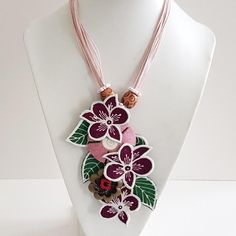 Handmade Embroidered Maroon Batik Flowers with Green Leaves with Pink Rope Necklace, Handmade Jewelry, Gift for Women Handmade Accessories, Detail, Trending Outfits, Awesome, Unique Jewelry, Handmade Gifts, Etsy, Vintage, Art