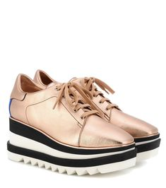 Stella McCartney - Sneak Elyse platform sneakers - Stella McCartney brings a new sporty twist to the label's classic: the Sneak Elyse in a metallic rose-gold hue come with contrasting black and white rubber saw-edge soles. seen @ www.mytheresa.com