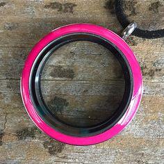 Pink enamel locket