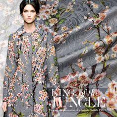 American Style Pink Mushroom Print Grey Chiffon Fabric Apparel For Dress Silk Tissu Telas Fabrc Fabric