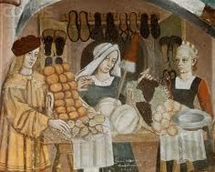 Merchants in the Middle Ages. Medieval Shoes. Medieval Market. Le lunelle del…