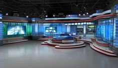 The Illéa Report Stage (Chapter Five) Tv Set Design, Stage Design, Virtual Studio, Exhibition Display, Tv Decor, Stage Set, News Studio, Living Room Tv, New Room