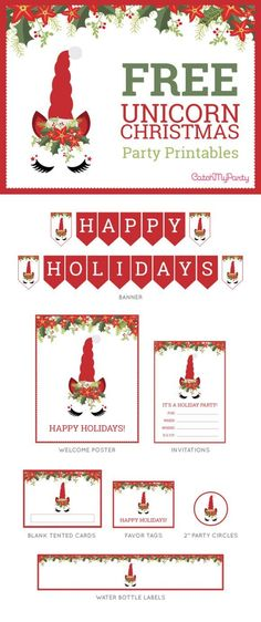 free unicorn christmas party printables freeprintables christmasparty christmaspartydecorations catchmyparty com