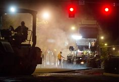 If you love heavy equipment, the place to hang out is downtown at night.  That's when most of the action happens in downtown's largest street project in two decades. Up for retooling are 100-year-old sewer lines, the street-level electric system and tree irrigation. The street also gets spiffed up with an overlay of fresh asphalt.