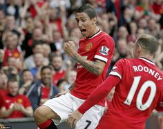 Angel di Maria celebrates his first goal for Manchester United with Wayne Rooney after putting his new side into the lead at Old Trafford Forever Manchester, Manchester United 2014, Manchester United Football, Football Rules, Eric Cantona, Premier League Champions, Wayne Rooney, Old Trafford, Man United