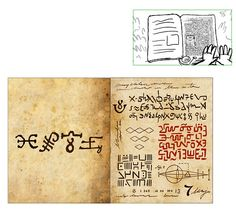 Sketches and final product of Journal Gravity Falls Codes, Gravity Falls Wiki, Gravity Falls Journal, Journal 3, Journal Pages, Bullet Journal, Grabity Falls, Alphabet Code, Fall Tv