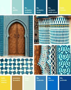 Marocco Blue Fez Like this color palette for a kitchen. Moroccan Colors, Morrocan Decor, Moroccan Bedroom, Moroccan Interiors, Moroccan Design, Moroccan Style, Moroccan Lanterns, Moroccan Lounge, Moroccan Kitchen