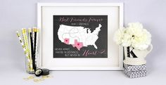 Best Friends Forever Map 8x10 Print