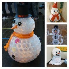 How to make cute snowman with recycled plastic cups step by step DIY tutorial instructions, How to, how to do, diy instructions, crafts, do it yourself, diy website, art project ideas