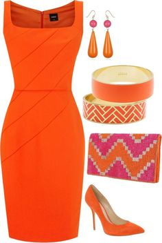 Orange dress date look! Mode Outfits, Dress Outfits, Fashion Dresses, Woman Outfits, Club Outfits, Midi Dresses, Look Fashion, Womens Fashion, Fashion Trends