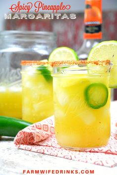 Spicy Pineapple Margaritas by the Pitcher combine the sweet nectar of pineapple infused tequila with triple sec, pineapple and lime juices and a kick of jalapeno heat. Add Tajin seasoning to add a smoky heat to the salted rim. Pinapple Margarita, Pitcher Margarita Recipe, Pineapple Drinks, Jalapeno Margarita, Strawberry Mojito, Margarita Recipes, Margarita Drink, Spicy Drinks, Tequila Drinks