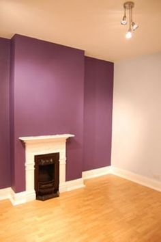 Violet Purple Colour Feature Wall In Our Bedroom