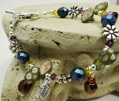 Autumn Dangle Bracelet Leaves Mums Flowers by ABeadApartJewelry, $23.50