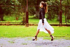 Black jacket + maxi skirt  (by Klaudia Zuzia Bembenik) http://lookbook.nu/look/4014542-black-jacket-maxi-skirt