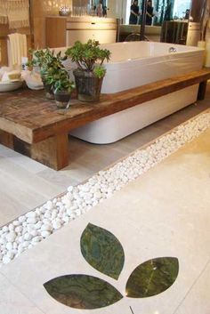 bathtub with wooden shelf and indoor plants