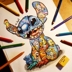 Stitch Design!! #littlesamsart #art #disney