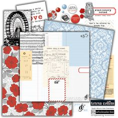 Stationery Noted is a study of crisp, cool blue damask contrasted with bright red poppies. Stylish and sophisticated and guaranteed to work with a variety of projects. Document, take notes and chronicle life's special moments with Teresa Collins Stationery Noted Collection.