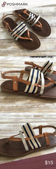 ‼️Mossimo supply co Summer Strappy sandals‼️ Cute nautical style sandals.  Leather upper. (Meaning the straps on the top of the sandal.  I wore these one time to the store. They sadly don't fit me well. Super cute w Navy, silver, tan and white!  Perfect for summer!! Thank you! Mossimo Supply Co. Shoes Sandals