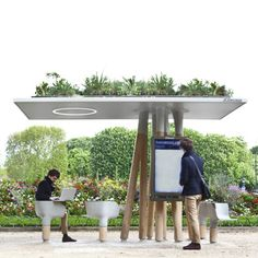 French designer Mathieu Lehanneur hascreated a series of Wi-Fi stations in Paris where people can sit down to use their laptops or access local information via a large screen.