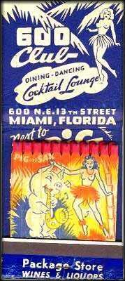 Pig and Sax feature matchbook - Miami, FL