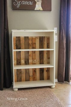 Take a simple bookshelf to the next level by replacing the backing with slats of wood from a shipping pallet.
