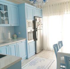 Beyaz, Halı, Mavi, Mutfak