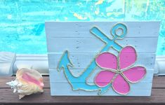 Handmade Anchor and Flower with Rope Beach Pallet Art by BeachByDesignCo on Etsy https://www.etsy.com/listing/216078014/handmade-anchor-and-flower-with-rope