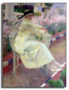 Clotilde in the garden - Sorolla, Sorolla Museum, Madrid Spanish Painters, Spanish Artists, Paintings I Love, Beautiful Paintings, Woman Painting, Figure Painting, Art Espagnole, Arte Fashion, Renoir