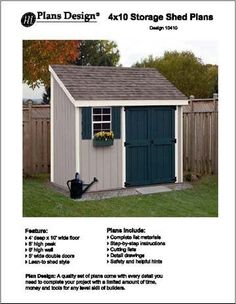 4' X 10 Lean-to Storage Shed Project Plans -Design #10410:Amazon:Home Improvement Shed Building Plans, Shed Floor Plans, Lean To Shed Plans, Tuff Shed, Shed Design, Outdoor Sheds, Backyard Sheds, Backyard Buildings, Garden Sheds