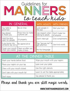 What to expect - easy ways to teach table manners to children.