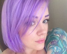 Top 50 Funky Hairstyles for Women Light Purple Bob Hairstyle Bob Haircut For Girls, Short Sassy Haircuts, Wavy Bob Haircuts, White Ombre Hair, Purple Hair, Purple Bob, Light Purple, Violet Hair, Pastel Hair