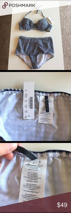 J. Crew High Waisted Seersucker Gingham Bikini NWT Brand new! 34C top and small bottoms. Super cute!! J. Crew Swim Bikinis