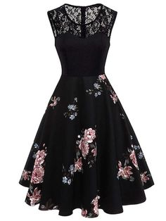 3ca4fd73d6f4 To find out about the Lace Yoke Floral Flare Dress at SHEIN